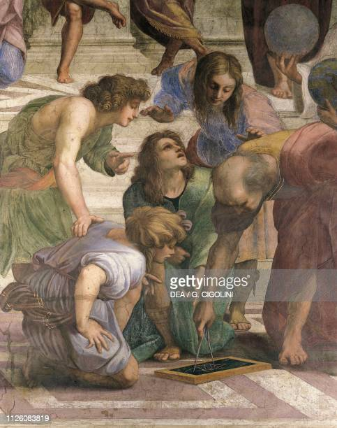 Euclid drawing the figure of an hexagram with a compass detail of The School of Athens 15081511 by Raphael fresco Room of the Segnatura Apostolic...