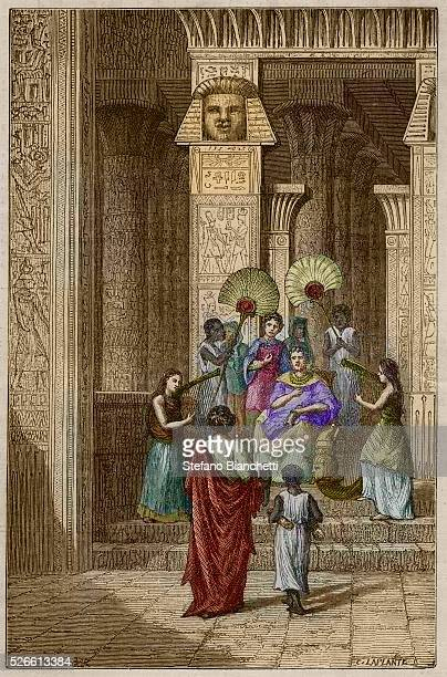 """Euclid presenting to Ptolemy Soter his work on the elements of geometry - engraving from """"Vie des savants illustres de l'antiquite"""" of Louis Figuier"""