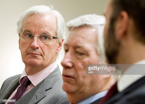 EUcommissioner Michel Barnier takes part in a joint press conference with Norwegian ministers Sigbjoern Johnsen and Trond Giske in Oslo on March 4...