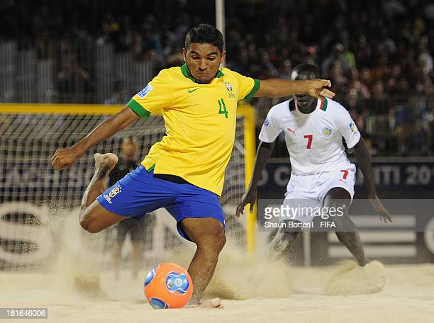 Eudin of Brazil shoots during the FIFA Beach Soccer World Cup Tahiti 2013 Group C match between Brazil and Senegal at the Tahua To'ata stadium on...