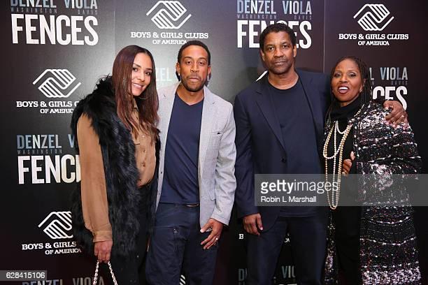 "Eudoxie Bridges, Christopher Bridges aka Ludacris, Denzel Washington and Pauletta Washington attend ""Fences"" Atlanta Screening at Regal Atlantic..."