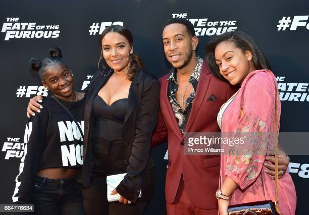 Eudoxie Bridges Ludacris and Karma Bridges attend 'The Fate Of The Furious' Atlanta screening at SCAD Show on April 4 2017 in Atlanta Georgia