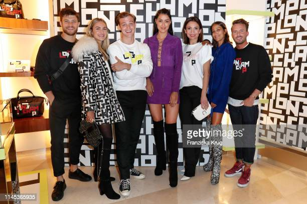 Eugen Bauder Nina Suess David Schuetter Rebecca Mir Nadine Warmuth Rabea Schif and Dennis Sialkowski attend the Longchamp store event on May 21 2019...