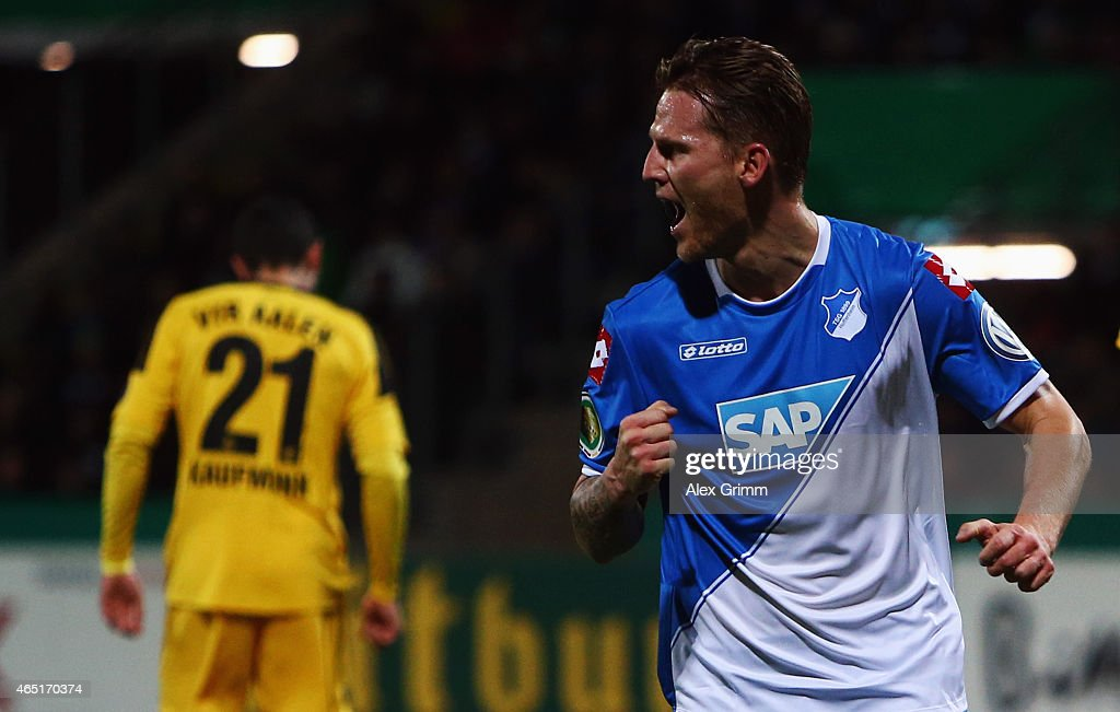 Eugen Polanski of Hoffenheim celebrates his team's first goal during the DFB Cup Round of 16 match between VfR Aalen and 1899 Hoffenheim at Scholz Arena on March 3, 2015 in Aalen, Germany.