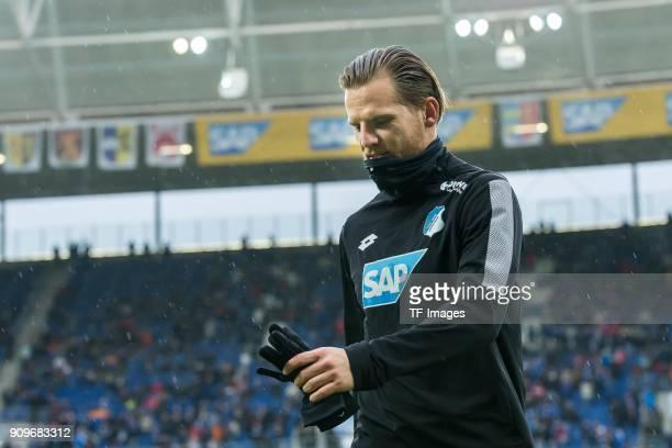 Eugen Polanski of Hoffenheim looks on prior to the Bundesliga match between TSG 1899 Hoffenheim and Bayer 04 Leverkusen at RheinNeckarArena on...