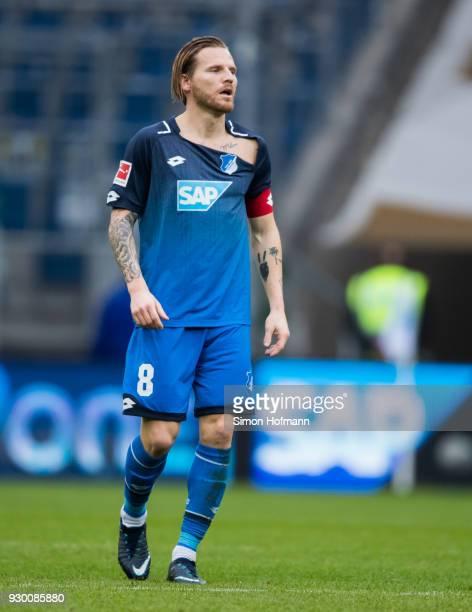 Eugen Polanski of Hoffenheim with damagrd jersey during the Bundesliga match between TSG 1899 Hoffenheim and VfL Wolfsburg at Wirsol RheinNeckarArena...