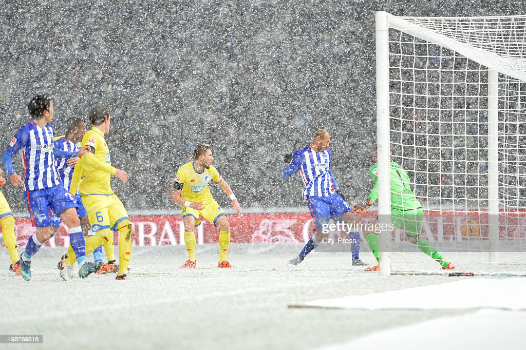 Eugen Polanski of TSG 1899 Hoffenheim scores the 1:0 for Hertha BSC during the Bundesliga match between Hertha BSC and TSG Hoffenheim on November 22, 2015 in Berlin, Germany.