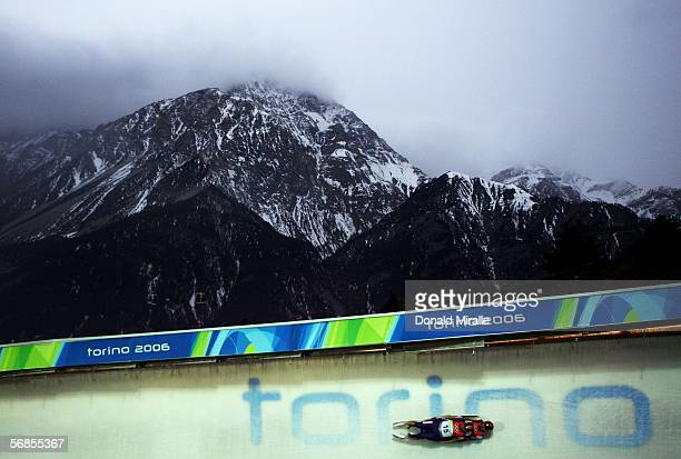 Eugen Radu and Marian Lazarescu of Romania compete in the Mens Luge Double Final on Day 5 of the 2006 Turin Winter Olympic Games on February 15 2006...