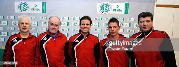 Eugen Striegel head of referee education Volker Roth head of German referees referee Felix Brych referee Michael Kempter and Herbert Fandel trainee...