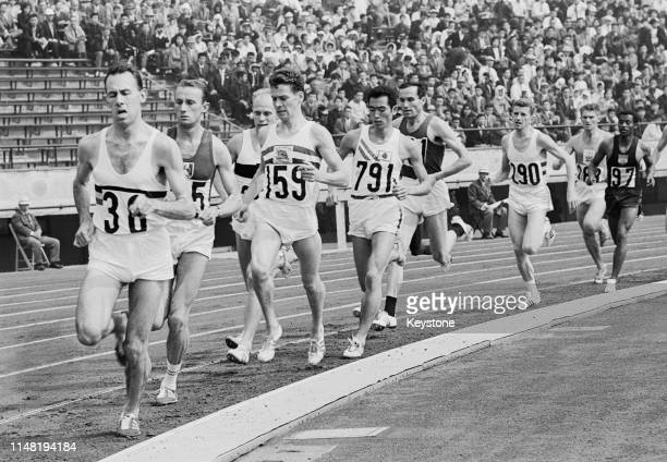 Eugene Allonsius#38, Simo Vazic of Yugoslavia and Alan Simpson 159 of Great Britain compete in Heat 4 of the Men's 1500 metres on 19th October 1964...