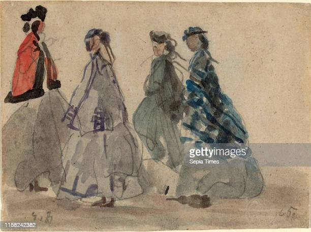Eugene Boudin Four Women at Trouville watercolor and graphite on laid paper