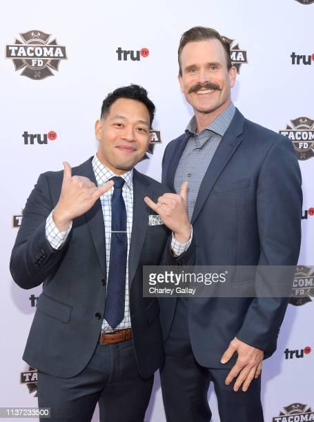 Eugene Cordero and Gabriel Hogan attend truTV's 'Tacoma FD' Premiere Event on March 20 2019 in Los Angeles California