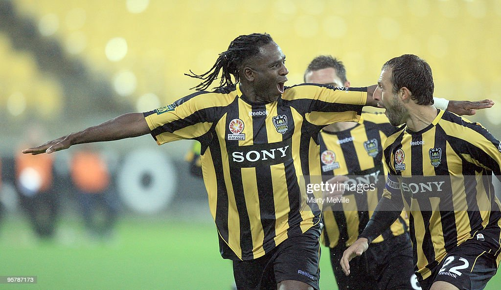 Eugene Dadi of the Phoenix celebrates a goal during the round 23 A-League match between the Wellington Phoenix and North Queensland Fury at Westpac Stadium on January 15, 2010 in Wellington, New Zealand.