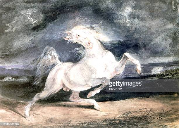Eugene Delacroix French school Horse Frightened by Lightning Between 1825 and 1829 Watercolour and gum arabic on paper Budapest museum of Fine Arts