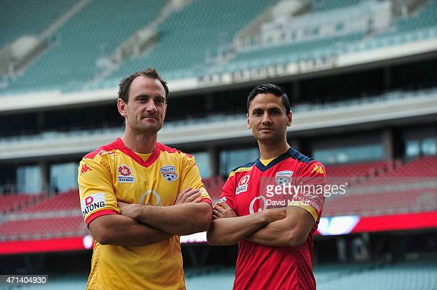 Eugene Galekovic and Marcelo Carrusca pose during an Adelaide United ALeague media opportunity at Adelaide Oval on April 28 2015 in Adelaide Australia