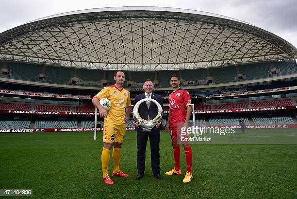 Eugene Galekovic Damien de Bohum and Marcelo Carrusca pose during an Adelaide United ALeague media opportunity at Adelaide Oval on April 28 2015 in...