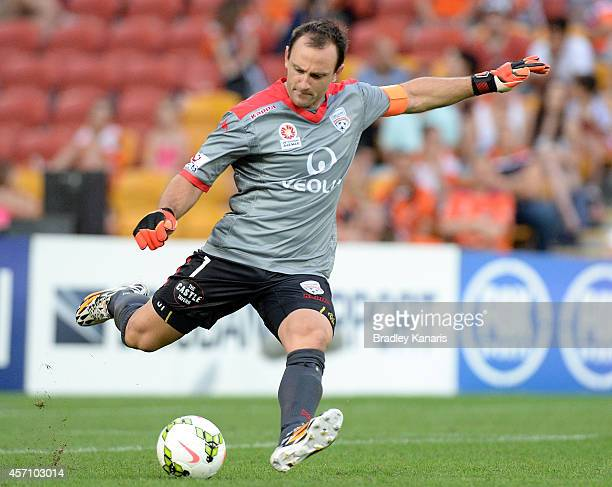Eugene Galekovic of Adelaide in action during the round one ALeague match between the Brisbane Roar and Adelaide United at Suncorp Stadium on October...
