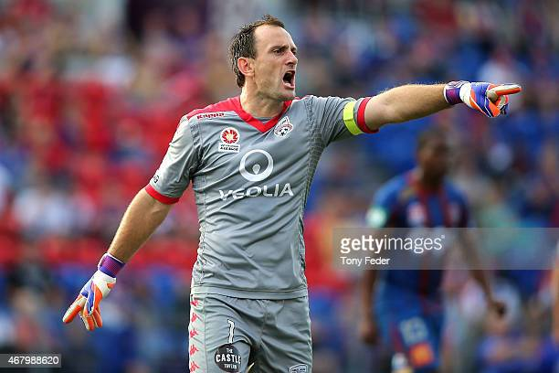 Eugene Galekovic of Adelaide instructs his players during the round 23 ALeague match between the Newcastle Jets and Adelaide United at Hunter Stadium...