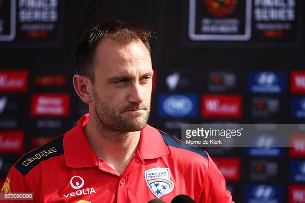 Eugene Galekovic of Adelaide United speaks to media during an Adelaide United ALeague Finals series media opportunity at Coopers Stadium on April 18...