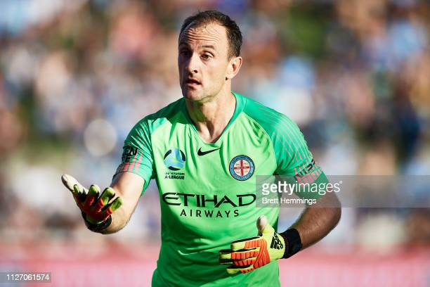Eugene Galekovic of Melbourne City reacts during the round 17 ALeague match between Sydney FC and Melbourne City at WIN Jubilee Stadium on February...