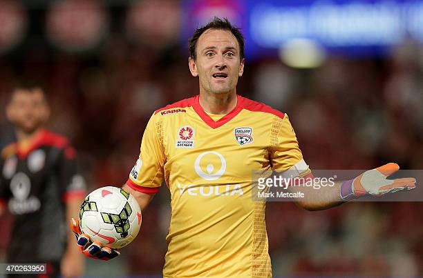 Eugene Galekovic of United appeals to the referee after a penalty decision during the round 26 ALeague match between the Western Sydney Wanderers and...