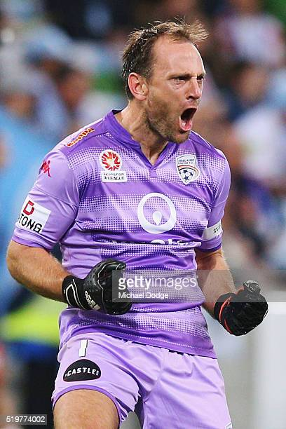 Eugene Galekovic of United celebrates a goal by his team during the round 27 ALeague match between the Melbourne City FC and Adelaide United at AAMI...