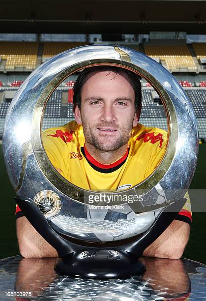 Eugene Galekovic with the A-League trophy during the Adelaide United A-League 2013 Finals Series Launch at Hindmarsh Stadium on April 2, 2013 in...