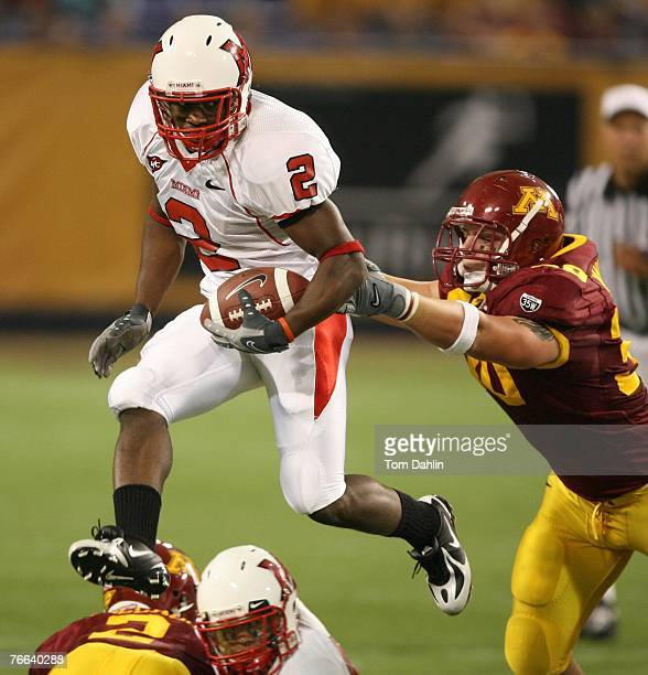 Eugene Harris of the Miami Redhawks carries the ball in the first quarter during an NCAA game against the Minnesota Golden Gophers at the Hubert H...