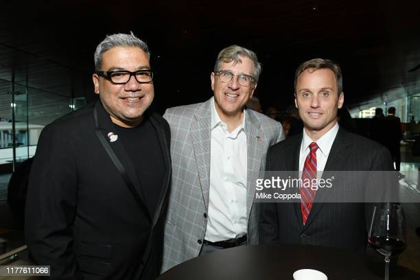 Eugene Hernandez and Peter Sobiloff attend the 57th New York Film Festival The Irishman prereception at Lincoln Ristorante on September 27 2019 in...