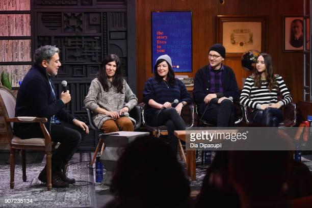 Eugene Hernandez Debra Granik Lynne Ramsay Paul Dano and Zoe Kazan speak onstage at the Panel Adaptation during the 2018 Sundance Film Festival at...