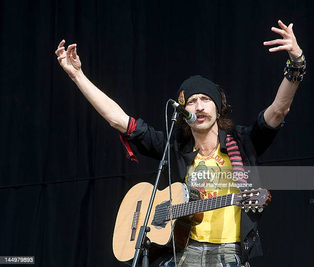 Eugene Hutz of Gogol Bordello live on stage at Reading Festival on August 27 2010