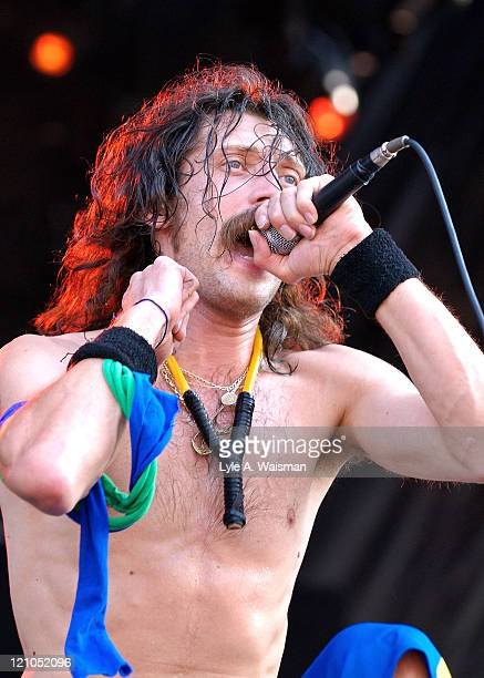 Eugene Hutz of Gogol Bordello performs as part of Lollapalooza 2008 at Grant Park on August 1 2008 in Chicago Illinois