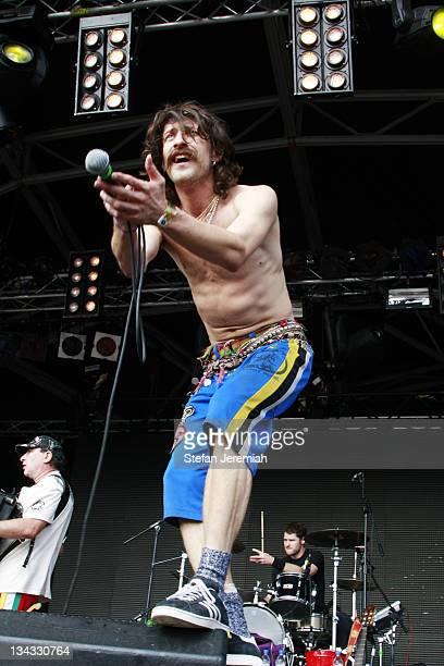 Eugene Hutz of Gogol Bordello performs at Get Loaded in the Park at Clapham Common on August 24 2008 in London England