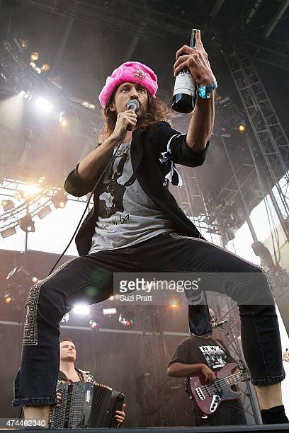 Eugene Hutz of Gogol Bordello performs at the Sasquatch Music Festival at The Gorge on May 22 2015 in George Washington