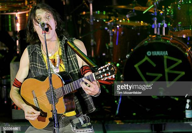 Eugene Hutz of Gogol Bordello performs in support of the bands TransContinental Hustle release at Red Rocks Amphitheatre on August 12 2010 in...