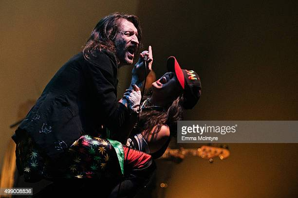 Eugene Hutz of Gogol Bordello performs live at The Wiltern on November 27 2015 in Los Angeles California
