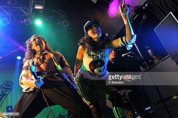 Eugene Hutz of Gogol Bordello performs on stage at KOKO on July 26 2016 in London England