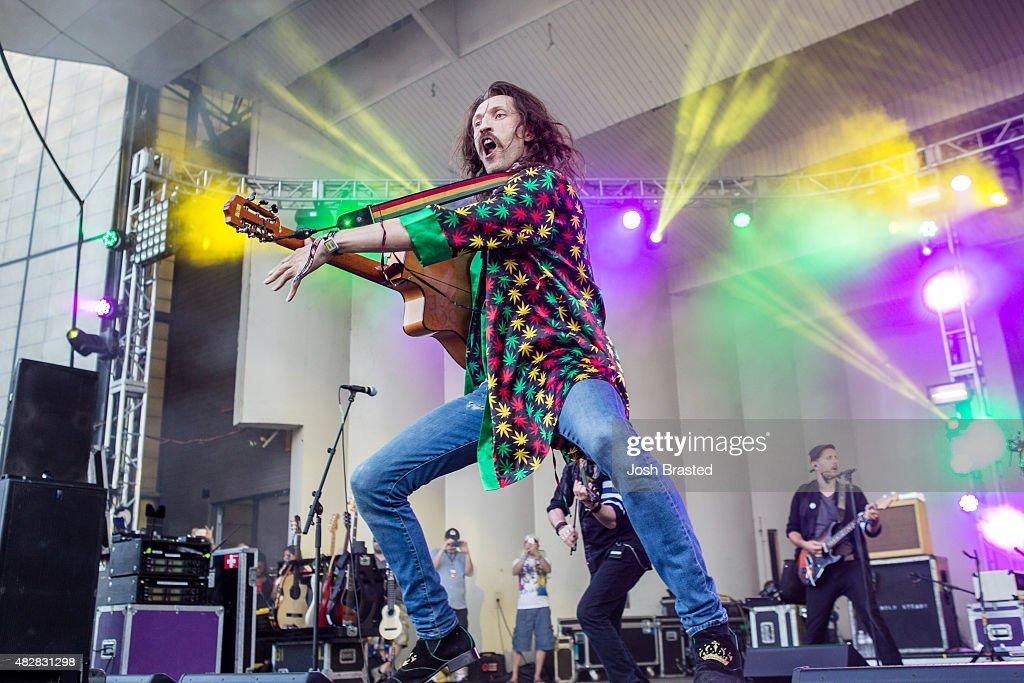 Eugene Hutz of Gogol Bordello performs on stage at the 2015 Lollapalooza music festival at Grant Park on August 2, 2015 in Chicago, Illinois.