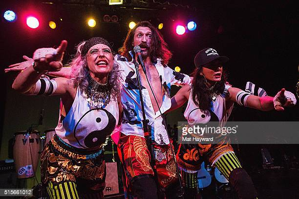 Eugene Hutz of Gogol Bordello performs on stage at The Showbox on March 14 2016 in Seattle Washington