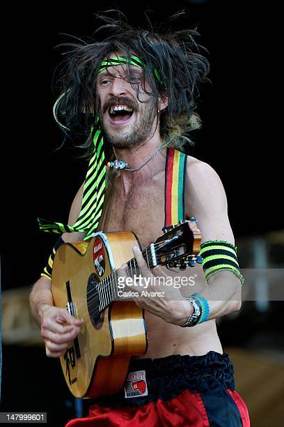 Eugene Hutz of Gogol Bordello performs on stage during Rock in Rio Madrid 2012 on July 7 2012 in Arganda del Rey Spain