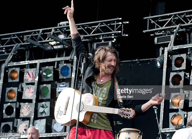 Eugene Hutz of Gogol Bordello performs on stage on Day 1 of Hurricane Music Festival 2013 on June 21 2013 in Scheessel Germany