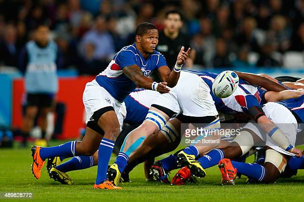 Eugene Jantjies of Namibia passes during the 2015 Rugby World Cup Pool C match between New Zealand and Namibia at the Olympic Stadium on September 24...