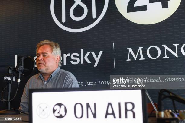 Eugene Kaspersky attend M24 pop up radio at Kaspersky Lounge during Starmus V A Giant Leap sponsored by Kaspersky at Samsung Hall on June 26 in...