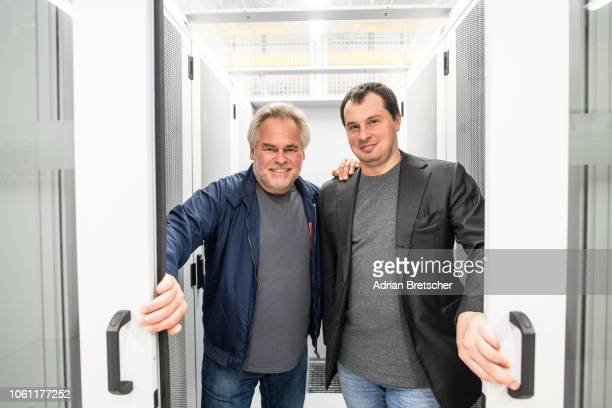 Eugene Kaspersky, CEO at Kaspersky Lab and Alexander Moiseev, CBO at Kaspersky Lab are seen at Interxion Data Center. Kaspersky Lab starts data...