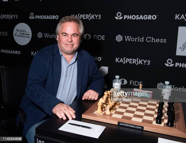 Eugene Kaspersky, CEO at Kaspersky Lab, attends the Round 2 Day Game 2 of the Moscow Grand Prix, the first tournament in the FIDE World Chess Grand...