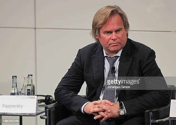 Eugene Kaspersky CEO of Kaspersky Lab participates in a panel discussion during day 3 of the 48th Munich Security Conference at Hotel Bayerischer Hof...