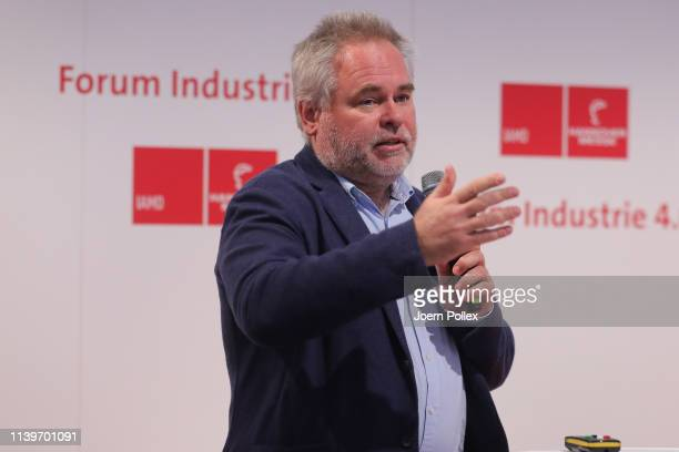 Eugene Kaspersky, Chief Executive Officer of Kaspersky Lab speaks duing the Forum Industrie 4.0 at Hannover Messe, where Kaspersky Lab presented its...
