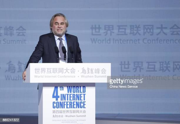 Eugene Kaspersky founder and head of cybersecurity firm Kaspersky Lab speaks during opening ceremony of the 4th World Internet Conference on December...
