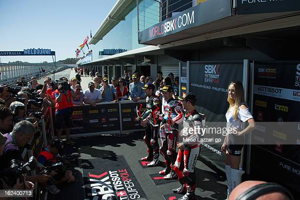 Eugene Laverty of Ireland and Aprilia Racing Team Carlos Checa of Spain and Team Ducati Alstare and Michel Fabrizio of Italy and Red Devils Roma...