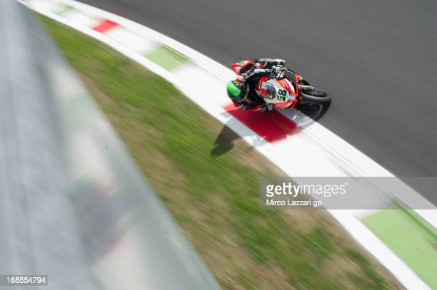 Eugene Laverty of Ireland and Aprilia Racing Team rounds the bend during the World Superbikes Qualifying during the round four of 2013 Superbike FIM...
